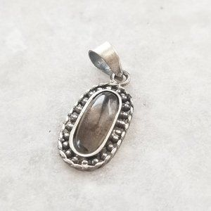 Jewelry - Vintage 925 Sterling Petite Brown Glass Oval